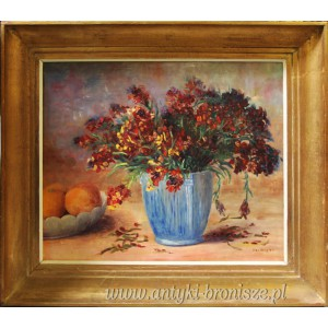 Bukiet kwiatów olej na desce -podpisany Hel Verbist (Hélčne Verbist ) Belgia 1950 r 77/67 cm