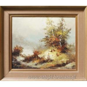 Olej na płótnie ,, Bażanty w lesie ¨ Podpisany Bernard Holandia 1970 r 78/68 cm