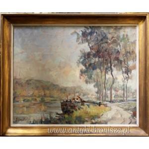 Olej na płótnie pejzaż ,, Barka na rzece Moza Namur -Belgia podpisany 1950 r 85/70 cm