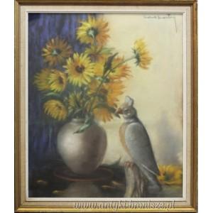 Bukiet żółtych kwiatów z papugą pastel na kartonie Mona Martry Belgia 1970r 65/67cm