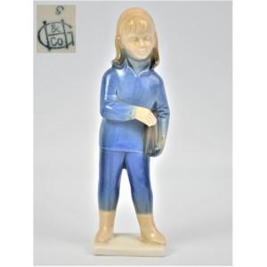 dziewczynka z teczką błękitna GH&Co Niemcy lata 50te