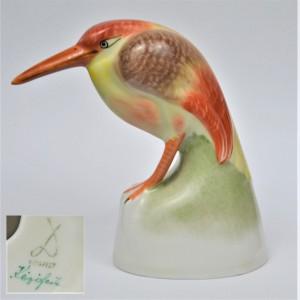 Ptak Zimorodek kolorowy Art Deco Drasche Węgry lata 50-te