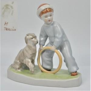 Dziecko z psem i kółkiem art deco A. Sinkó Zsolnay Węgry lata 30te 20cm