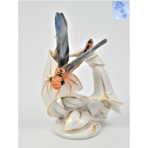 Ważka na kwiatku sygnowana - do kolekcji owadów Niemcy