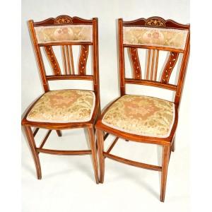 krzesła edwardiańskie XIX/XXwiek intarsjowane i  inkrustowane politura unikalne 2 sztuki po renowacji