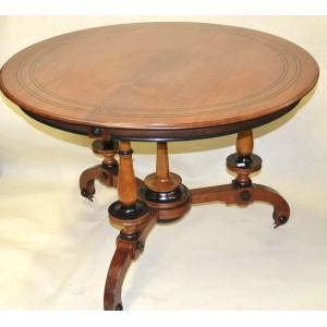 Stół okrągły w stylu Ludwika Filipa intarsjowany hebanem średnica 100cm